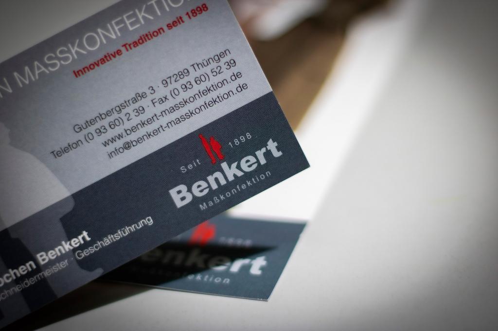 Visitenkarten von Benkert Maßkonfektion in Thüngen