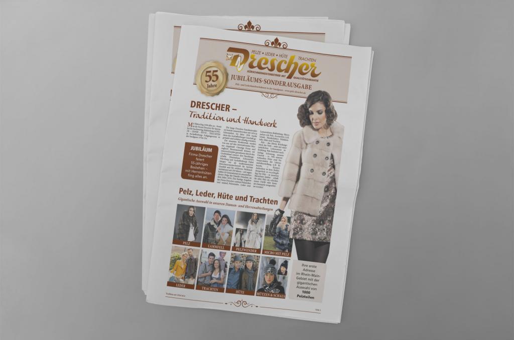Jubiläumszeitung von Drescher Pelze in Aschaffenburg zum 55-jährigen Bestehen